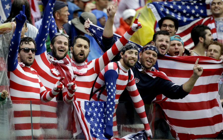 USA+supporters+cheer+for+their+national+team+during+the+group+G+World+Cup+soccer+match+between+the+USA+and+Germany+at+the+Arena+Pernambuco+in+Recife%2C+Brazil%2C+Thursday%2C+June+26%2C+2014.+%28AP+Photo%2FRicardo+Mazalan%29+ORG+XMIT%3A+WCDP144