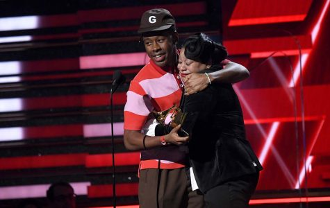 LOS ANGELES, CALIFORNIA - JANUARY 26: (L-R) Tyler, the Creator and his mother accept the Best Rap Album award for 'Igor' onstage during the 62nd Annual GRAMMY Awards at Staples Center on January 26, 2020 in Los Angeles, California. (Photo by Kevork Djansezian/Getty Images)